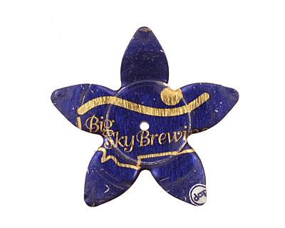 Trinket Foundry Blue & Gold (Big) Large 5 Petal Bottle Cap Flower 34mm