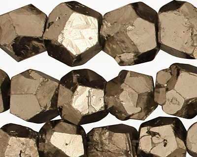 Golden Pyrite (silver tone) Faceted Nugget 8-10x10-14mm