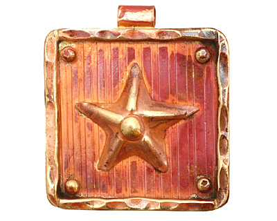 Patricia Healey Copper Starfish in Frame Pendant 32x35mm
