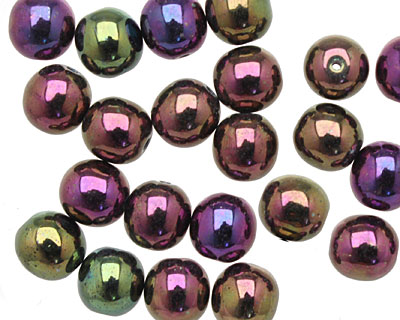 Czech Glass Iris Purple Round 8mm