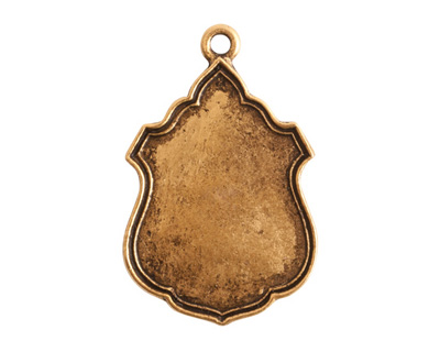 Nunn Design Antique Gold (plated) Ornate Flat Ensign Tag 20x31mm