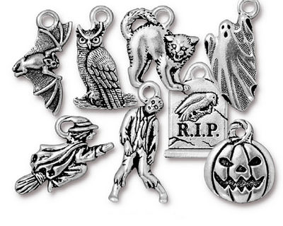 TierraCast Antique Silver (plated) Halloween Charm Set