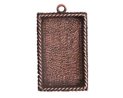 Nunn Design Antique Copper (plated) Large Ornate Rectangle Bezel Pendant 25x43mm