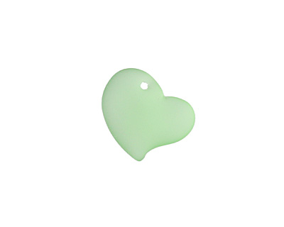 Peridot Recycled Glass Puffed Sweeping Heart Pendant 19x18mm