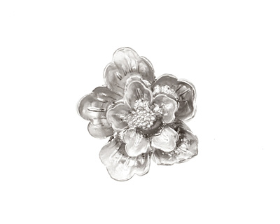 Ezel Findings Rhodium (plated) Flower Link 19x21mm