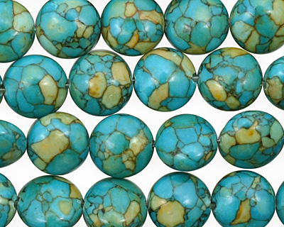 Turquoise Mosaic Magnesite Puff Coin 10mm