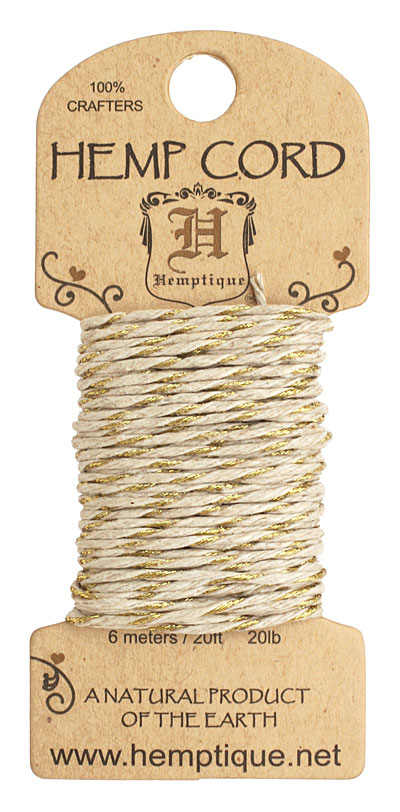 Metallic Gold Hemp Twine 20 lb, 20 ft