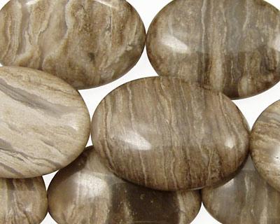 China Silver Leaf Flat Oval 25x18mm