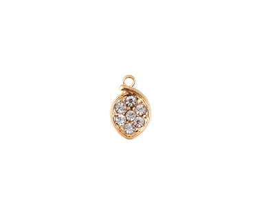 Clear Pave CZ Matte Gold Finish Small Cupped Leaf Charm 7x11mm