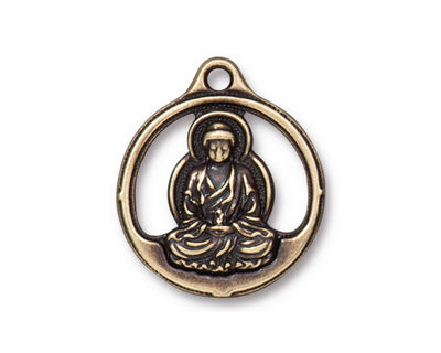 TierraCast Antique Brass (plated) Openwork Buddha Pendant 21x24mm