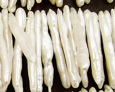 Pearly White Biwa Stick Top-Drilled 26-36mm
