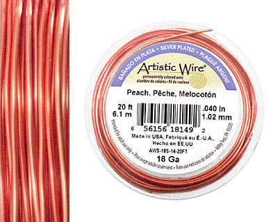 Artistic Wire Silver Plated Peach 18 gauge, 20 feet