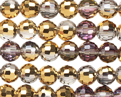 Luster Silver & Metallic Gold Crystal Faceted Round 8mm
