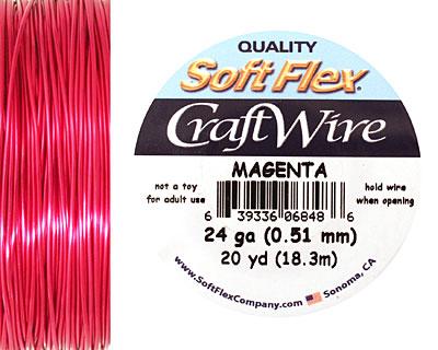 Soft Flex Magenta Craft Wire 24 gauge, 20 yards
