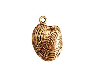 Nunn Design Antique Gold (plated) Clam Charm 15x22mm