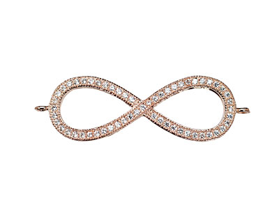 Rose Gold (plated) CZ Micro Pave Infinity Link 35x12mm