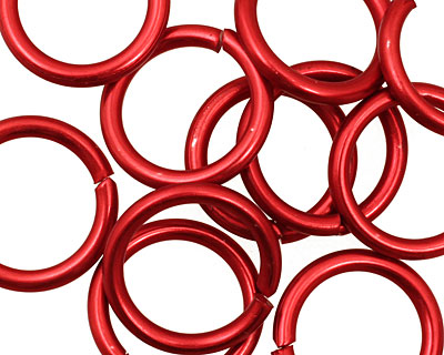 Red Anodized Aluminum Jump Ring 18mm, 12 gauge (13.1mm inside diameter)