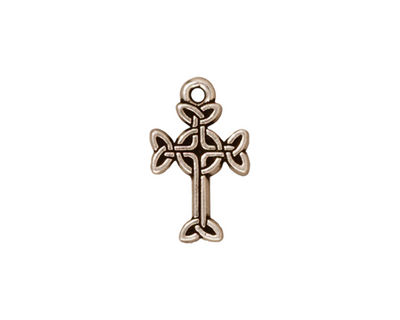 TierraCast Antique Silver (plated) Celtic Cross Charm 11x18mm