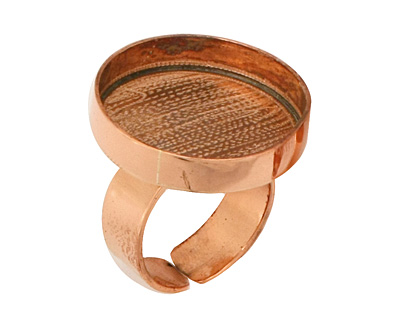 Copper Adjustable Ring Circle Bezel 23mm