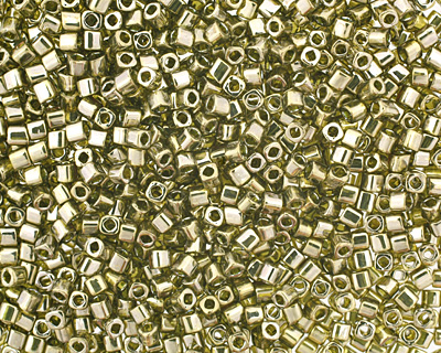 TOHO Gold Lustered Green Tea Cube 1.5mm Seed Bead