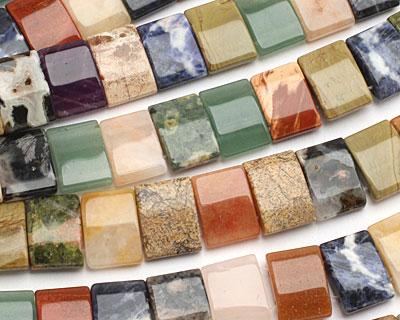 Multi Gemstone (Sodalite, Unakite, Red Jasper, Aventurine) 2-Hole Pillow 13x18mm