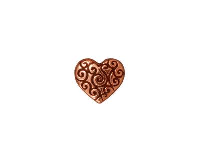 TierraCast Antique Copper (plated) Heart Scroll Bead 10x11mm