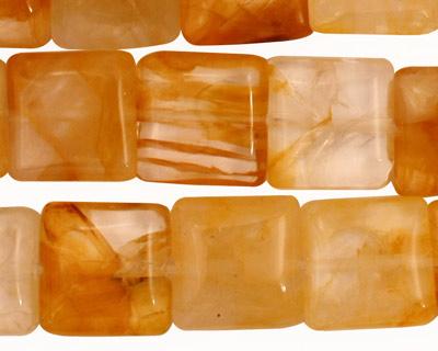 Yellow Hematoid Quartz Irregular Puff Square 14mm