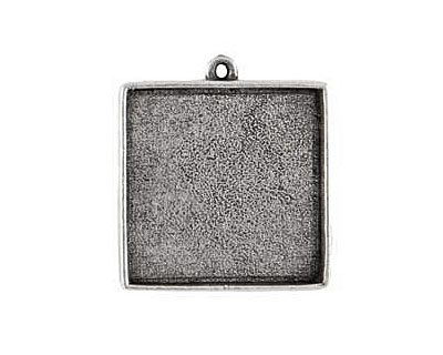 Nunn Design Antique Silver (plated) Grande Square Bezel Pendant 34x39mm