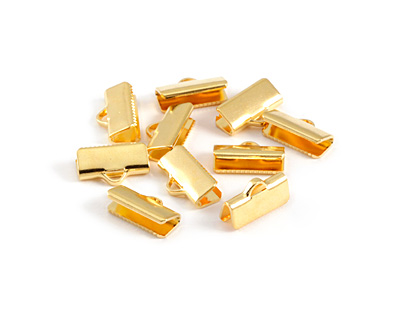 Gold (plated) Smooth Ribbon Crimp End 13mm
