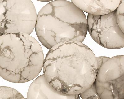 White Howlite Puff Coin 20mm