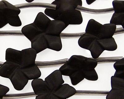 Brazil Black Stone (matte-finish) Carved Flower 15mm