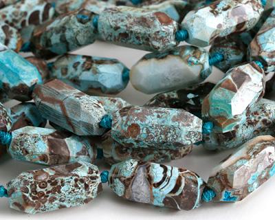 Turquoise Orbicular Jasper Faceted Barrel 28-33x13-15mm