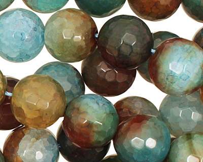 Green/Brown Fire Agate Faceted Round 12mm