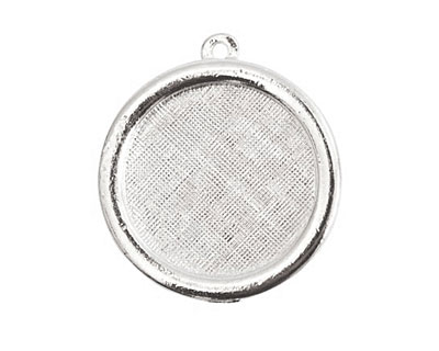 Nunn Design Sterling Silver (plated) Framed Small Circle Pendant 29x26mm