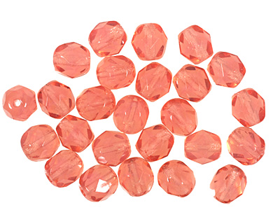 Czech Fire Polished Glass Milky Pink Round 6mm