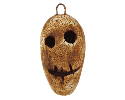 Earthenwood Studio Ceramic Crackle Root Skull Long Face Pendant 15-17x32mm