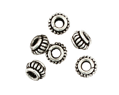 Antique Silver (plated) Coiled Rondelle 5x9mm
