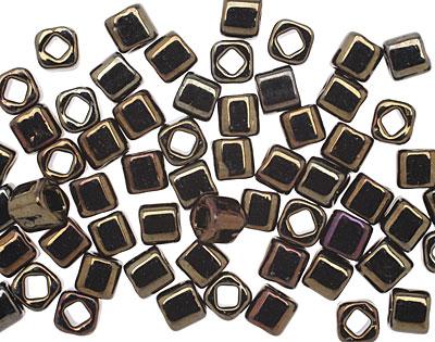TOHO Metallic Iris Brown Cube 4mm Seed Bead