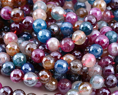 Jewel Tone Mix Line Agate w/ Silver Luster Faceted Round 6mm