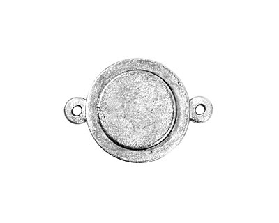 Nunn Design Antique Silver (plated) Raised Mini Circle Connector 25x13mm
