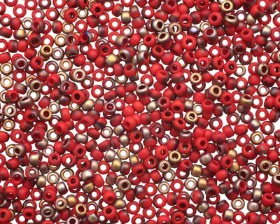 TOHO Frosted Pepper Red Apollo Hybrid Round 11/0 Seed Bead