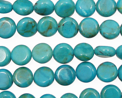 Chinese Turquoise (stab.) Puff Coin 8mm