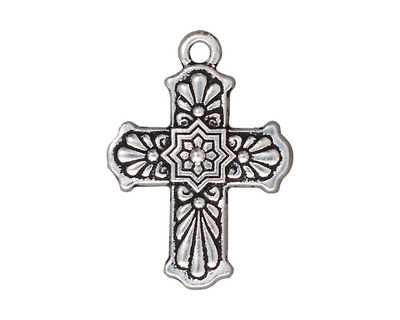 TierraCast Antique Silver (plated) Talavera Cross 22x30mm