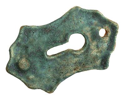 Kylie Parry Ceramic Copper Patina Fancy Keyhole Pendant 27x47mm