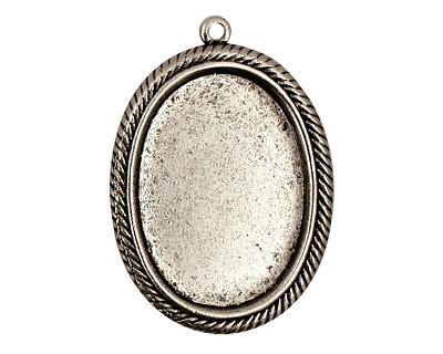 Stampt Antique Pewter (plated) Herringbone Double Drop Oval Setting 18x25mm