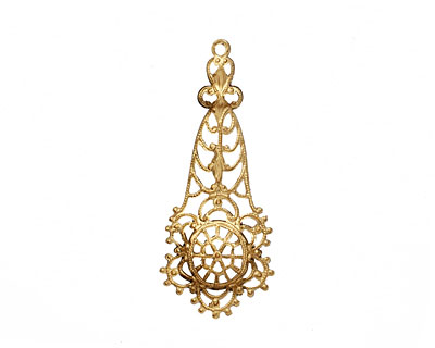 Brass Filigree Domed Flower Drop 18x44mm
