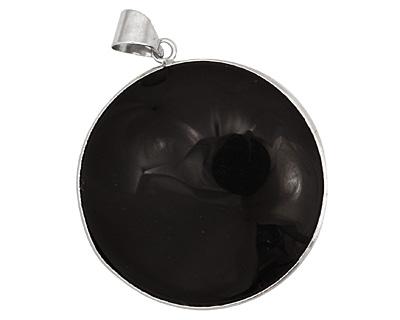 Black Onyx w/ Bail Round Pendant 41x53mm