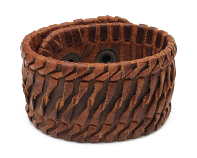 Brown Leather Twisted Stitch Cuff 1 5/8