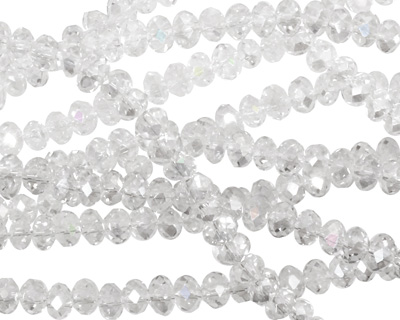 Clear AB Crystal Faceted Rondelle 4mm