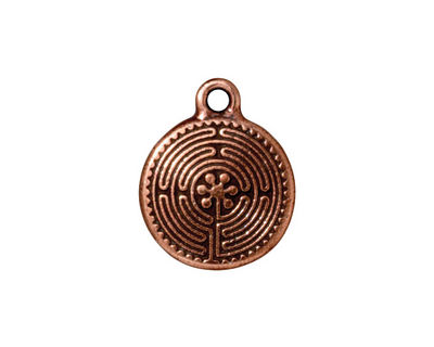 TierraCast Antique Copper (plated) Labyrinth Charm 16x20mm